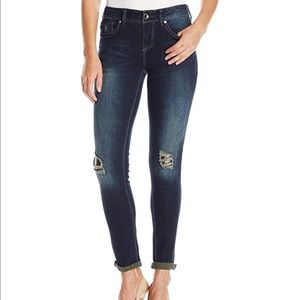 seven7 skinny jeans size 14 vegan leather patches